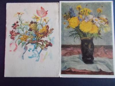 Pohlednice umělecká Svátek přání kytice ve váze Horálek Beneš  2 x