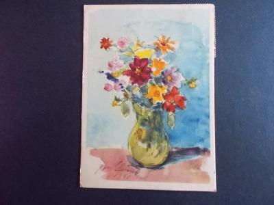 Pohlednice umělecká Svátek přání kytice ve váze Slavíček