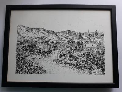 Mostar - Bosna a Hercegovina - perokresba