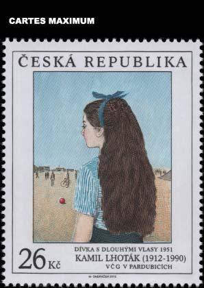 Kamil Lhoták - Známky umění: Dívka, 1951, olej na plátně - pohled U03