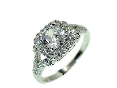 Stříbrný 925 prsten- rhodium