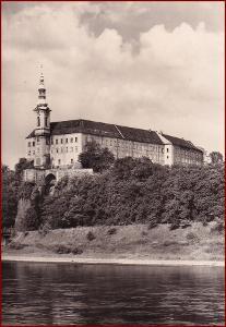 Děčín * pohled na zámek, podzámčí, řeka, krajina * V030