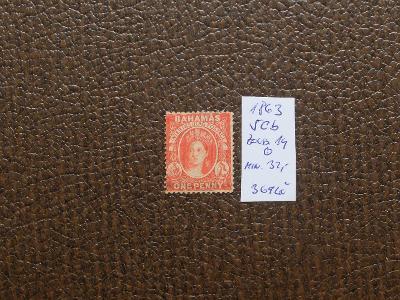 BAHAMY BRITÁNIE KOLONIE 1863 Mi 5 Cb ZOUBK. 14 RAZÍTK. KAT. min. 32 EU