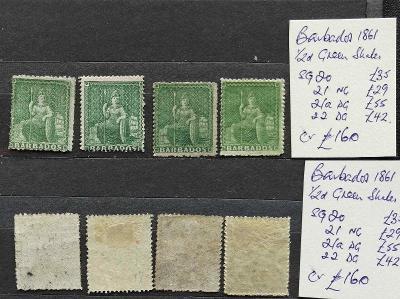 Barbados 1861 - SG20-22+21a 160£