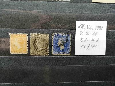 Svatý Vincent 1881 - smíšený komplet SG36-38 145£