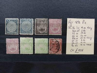 Fidži 1893 - smíšený komplet s odstíny po 2,5d 105£