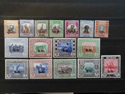 Britský Sudán 1951 - bez dvou hodnot komplet úředních přet. 35£