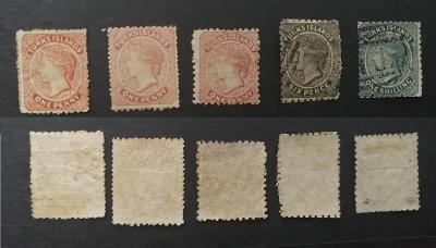 Turks Islands 1867-79 - smíšený komplet 5 prvních známek 410£