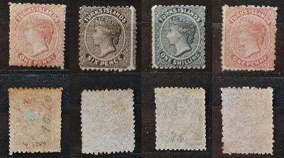 Turks Islands 1867-73 - komplet prvních 4 známek ostrovů 340£