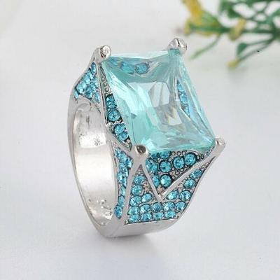 Prsten postříbřený s kamenem aquamarine vel.61