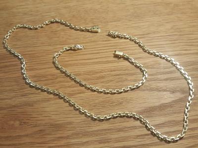 Zlatý řetěz a náramek, spojitelný do jednoho, ruční práce, plný masiv.