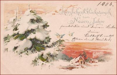 Nový  rok * chalupa, zimní motiv, litografie, gratulační * M3906