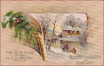 Nový  rok * lidé, chalupa, zimní motiv, koláž, gratulační * M3937
