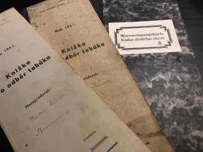 2x knížka pro odběr tabáku 1941-42, KNIHA DOŠLÉHO ZBOŽÍ  1941