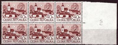 POF. 70 - VESNICE 40 HAL - KRAJOVÝ 6-BLOK S VYCHÝLENÝM OTVOREM (T7768)