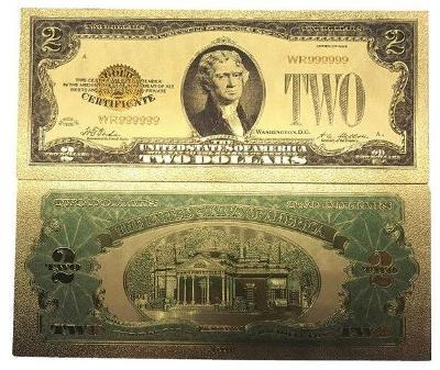 USA 2$ dolary americké dollars Zlatá bankovka fólie dolary