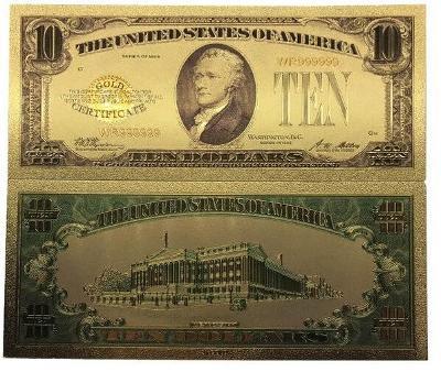 USA 10$ dolarů amerických dollars Zlatá bankovka fólie dolary