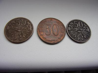 Staré mince 50 haléřů 3ks, z roku 1947, 1948, 1971