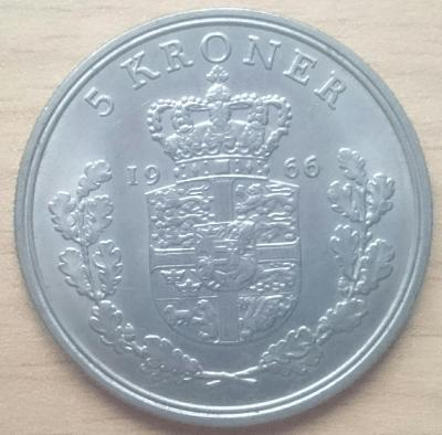 Dánsko 5 Kr 1966