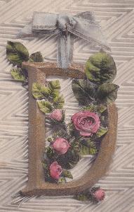 ► pohled - zlacené písmeno D - růže - mašle / stuha - A
