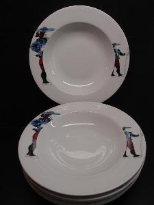 hluboké talíře PICASSO modré, 6ks, top stav