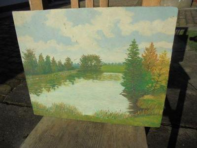 Obraz rybník signováno