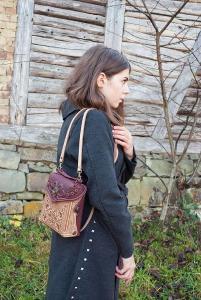 Taška na batoh, béžová kožená tašk