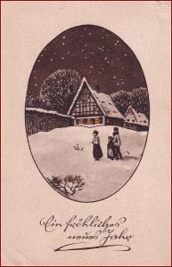 Nový rok * chalupa, lidé, zimní motiv, gratulační * M6353