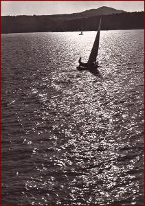 Máchovo jezero * lodě, plachetnice, západ slunce * Česká Lípa * V577