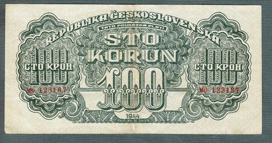 100 korun 1944 serie MO NEPERFOROVANA - Bankovky