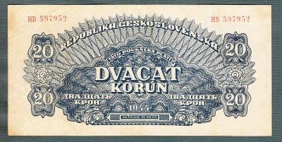 20 korun 1944 serie HB NEPERFOROVANA