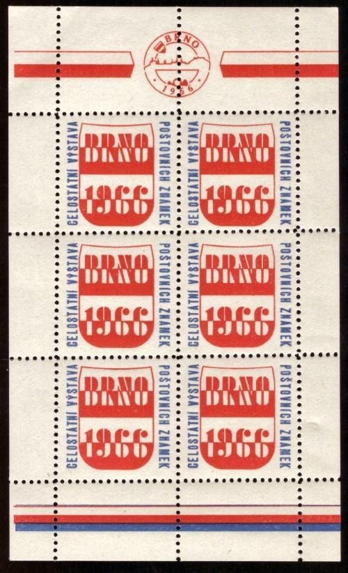 ČSR - VÝSTAVNÍ NÁLEPKA BRNO 1966 - CELÝ LIST (S1142) - Filatelie