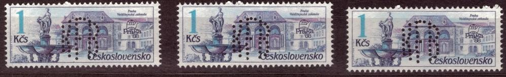 POF. 2847 - FONTÁNY, 3 KS - PERFIN KLUB FILATELISTŮ BENEŠOV (S1143)