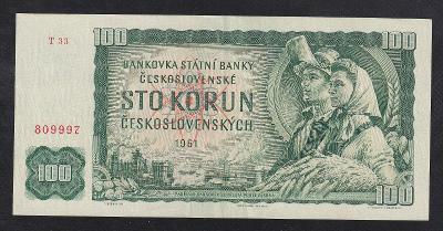 VZÁCNÁ 100 KORUNA 1961 VZÁCNÁ SÉRIE T - NÁDHERNÁ!