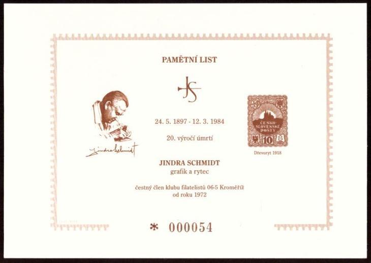ČÍSLOVANÝ PAMĚTNÍ LIST JINDRA SCHMIDT - 20. VÝROČÍ ÚMRTÍ (S1164) - Filatelie