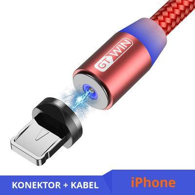 Nabíjecí kabel 2 m + magnetický konektor Lightning red