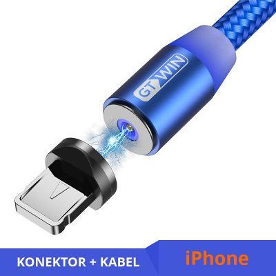 Nabíjecí kabel 2 m + magnetický konektor Lightning blue