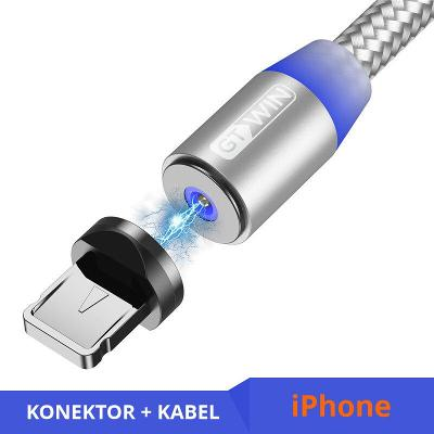 Nabíjecí kabel 2 m + magnetický konektor Lightning silver