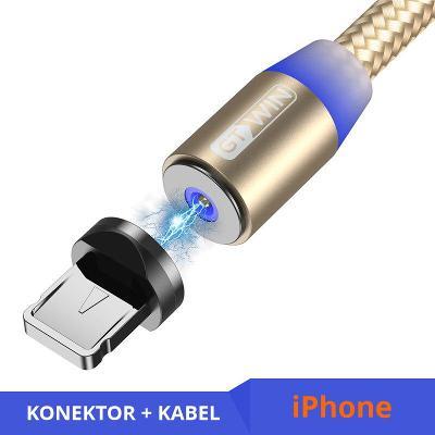 Nabíjecí kabel 2 m + magnetický konektor Lightning gold
