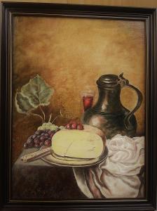 Zátiší s vínem - originální olejomalba