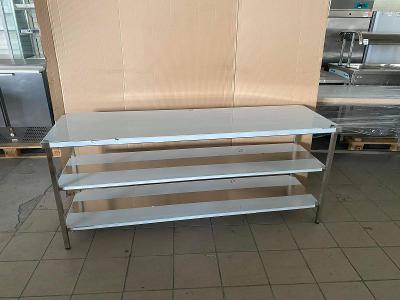 Nerezový prostorový stůl 2 police 140x70x85cm