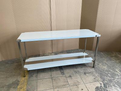 Nerezový prostorový stůl s policí 140x60x85cm