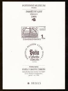 1996 (ČR) - Černotisk PTM5b - příloha knihy TEREZÍN, kat. 1500 Kč(6181