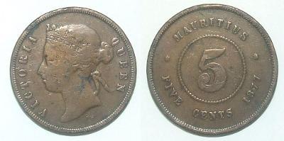 Mauritius 5 C 1877