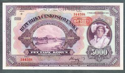 5000 korun 1920 PŘTISK PROTEKTORÁT perf. stav 0