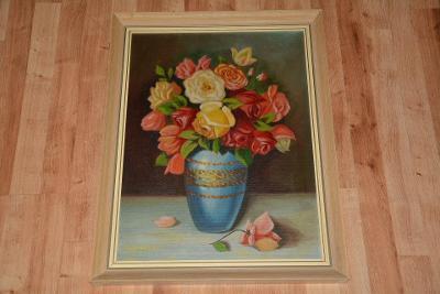 obraz, olej, květiny ve váze