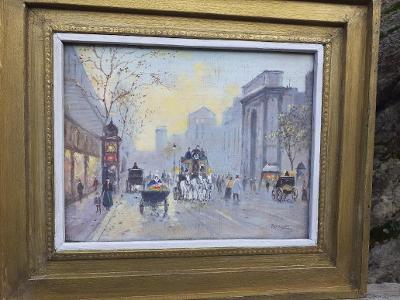 Pařížský boulevard Ol/dřev.deska Franc.impresionista Roulon cca 1900