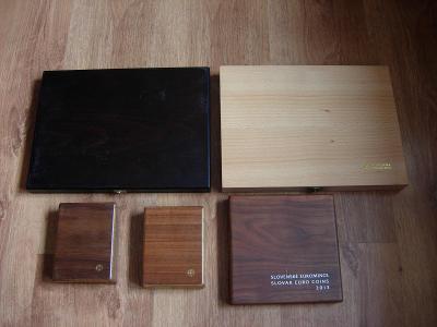 Originál drevené kazety - Mincovňa Kremnica - 5 kusov aj na zlato