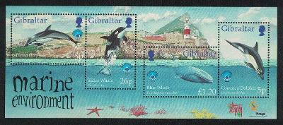 Gibraltar 1998 Mi.830-3 Bl. 34 6€ delfíny, velryby, fauna pobřeží
