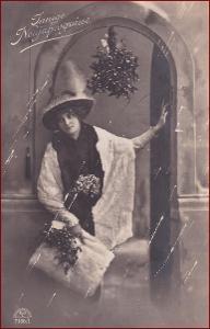 Žena * klobouk, kožešina, jmelí, atelier foto, gratulační * M5209